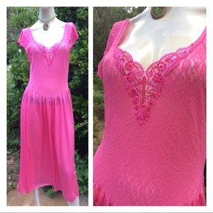 Pretty Pink Lace & Satin Beaded Vintage Nightgown
